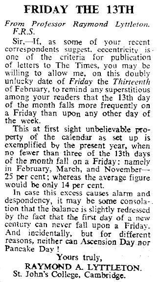 Prof. Raymond Lyttleton o pátku 13 v Timesech 1š. února 1970