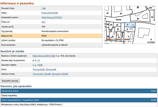 Výpis z katastru nemovitostí prokazující vlastnictví MV ČR