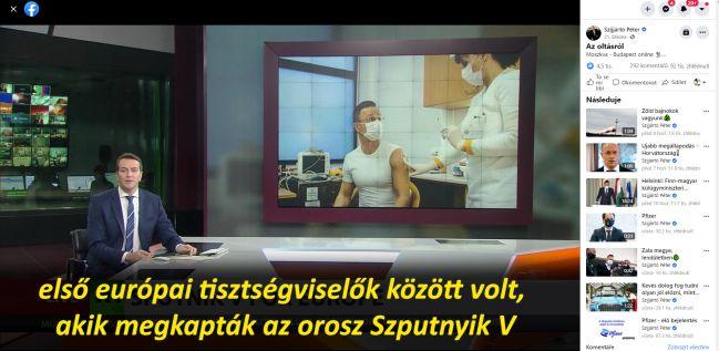 Péter Szijjártó se nechal naočkovat Spunikem; je hostem Russia Today. Zdroj: FB Pétera Szijjártó