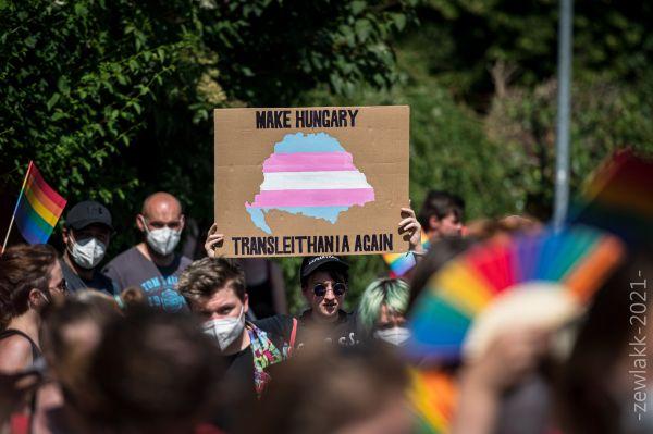 Demonstrace před Velvyslanectvím Maďarské republiky 18. června 2021. Foto Petr Zewlakk Vrabec