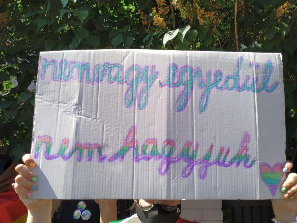 Demonstrace před Velvyslanectvím Maďarské republiky 18. června 2021