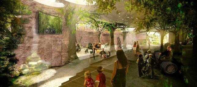 Vizualizace části interiéru nového pavilonu goril. Na základě detailního zadání připraveného pracovníky Zoo Praha tento pavilon navrhl architektonický ateliér ABM Architekti s.r.o.