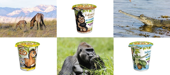 """Svačinka, kterou doporučují gorily i krokodýli. Snížený obsah cukru a žádná """"éčka"""". V prodeji bude ve třech příchutích – vanilkové, kakaové a smetanové – od 1. února v Kauflandu, Globusu, COOPu a dalších řetězcích."""