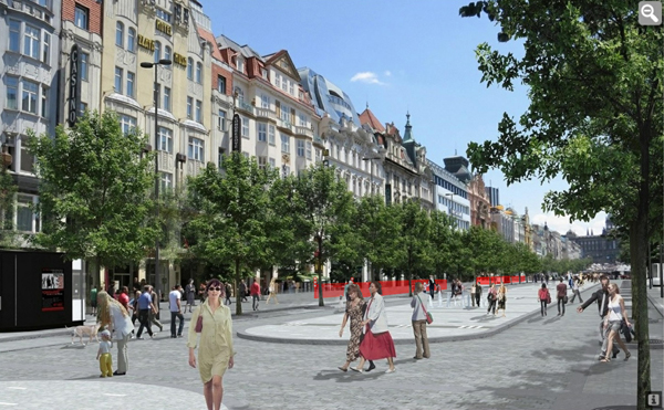 Václavské náměstí s vyznačenými rampami