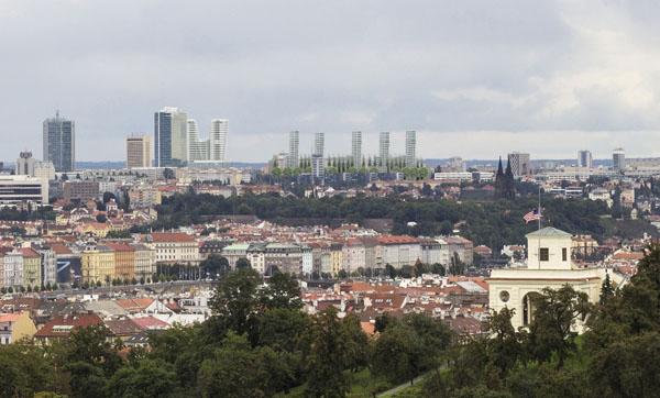 Zákres pěti obytných věží Rezidence park Kavčí hory do panoramatu Prahy z architektonické soutěže. V současné době investor usiluje o realizaci první etapy s třemi věžemi. Čtvrté a páté věže se údajně vzdal.