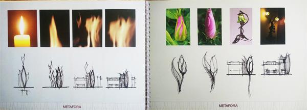Obrázky z brožůry, kterou vydal investor Květinového domu na podporu svého záměru v době, kdy ještě neměl vyhráno. Umělecké črty architekta nacházejí inspiraci v plamenu svíčky a tvaru poupěte. Dnes už můžete porovnat, jak se metafora povedla.
