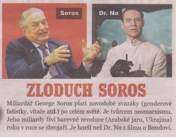 Srovnání: miliardrář Soros vs. superzloduch Dr. No, zdroj: Předvolební noviny SPD