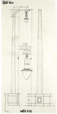 Návrh původních kandelábrů od arch. Pavla Janáka [zdroj: Archiv Národního Technického muzea]