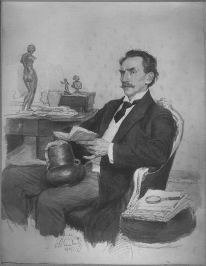 Profesor Lubor Niederle, zakladatel  Státního archeologického ústavu na kresbě Maxe Švabinského z roku 1915