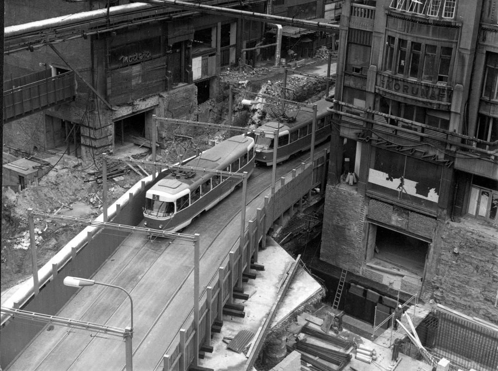 Výstavba metra na Václavském náměstí