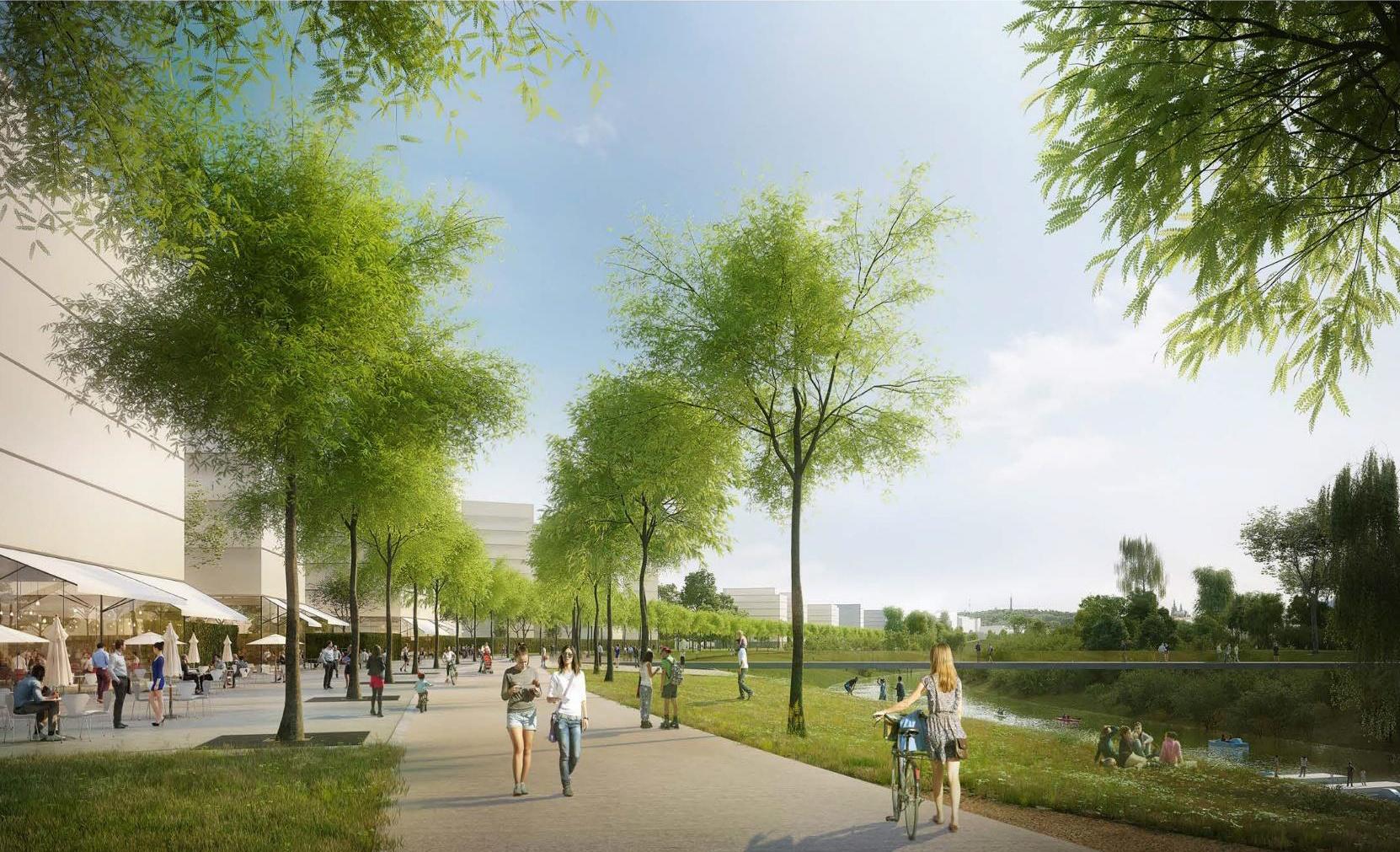 vizualizace nové čtvrti - promenáda má být v místě současné cyklostezky