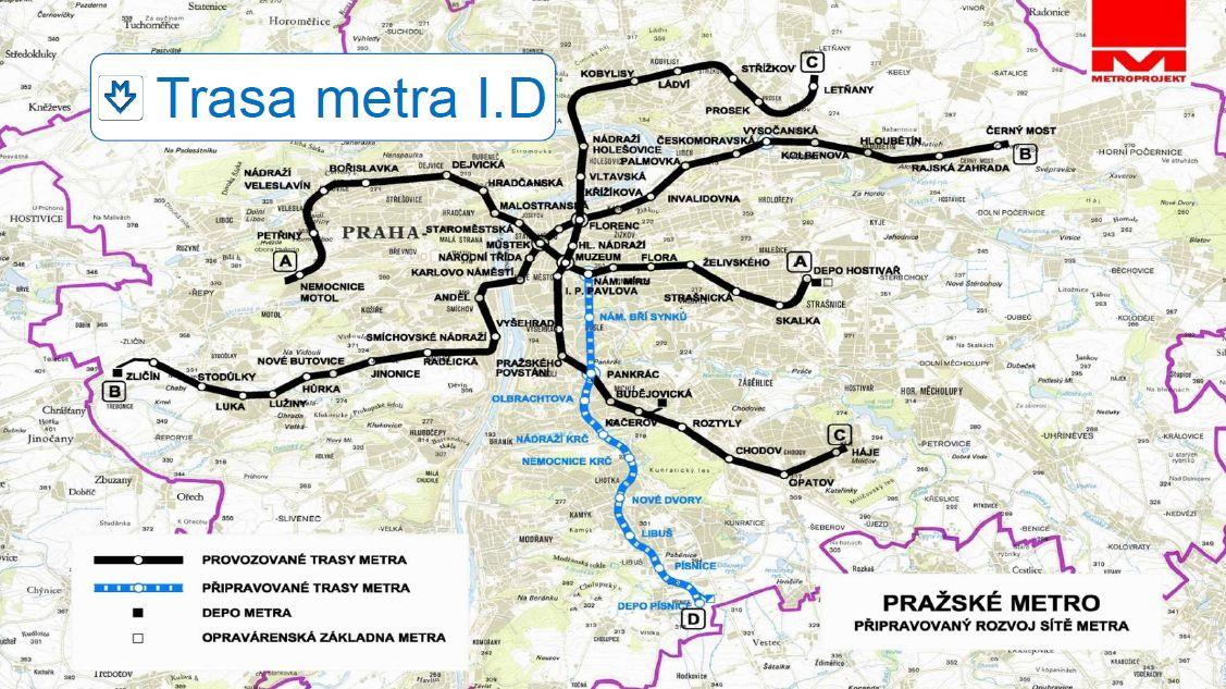 připravovaná trasa metra D