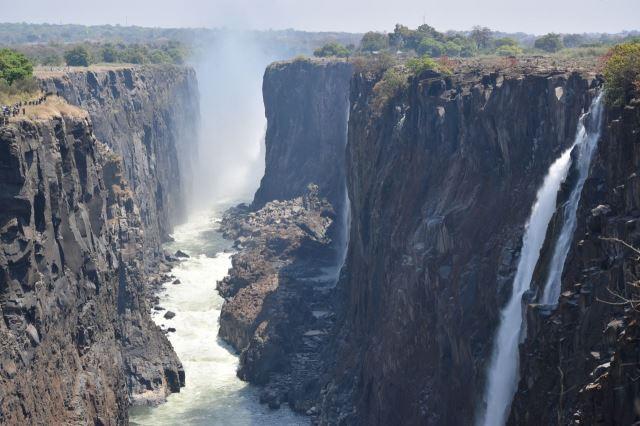 [Victoria Falls]Pohled na vodopády, přepadová hrana vpravo, nyní s minimálním stavem vody