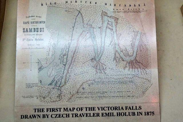 [Livingstone]Městské muzeum - první mapa vodopádů, kterou nakreslil náš krajan Dr. Emil Holub v roce 1875
