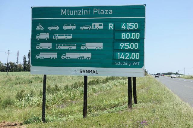 [V od Mtunzini]Ceník za použití tohoto úseku placené silnice N2