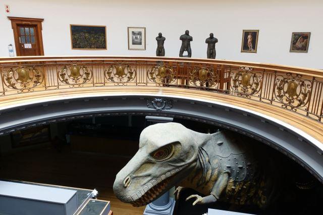 [Durban]Natural Science Museum - z nižšího patra drze vykukuje dinosaurus, momentálně v rekonstrukci
