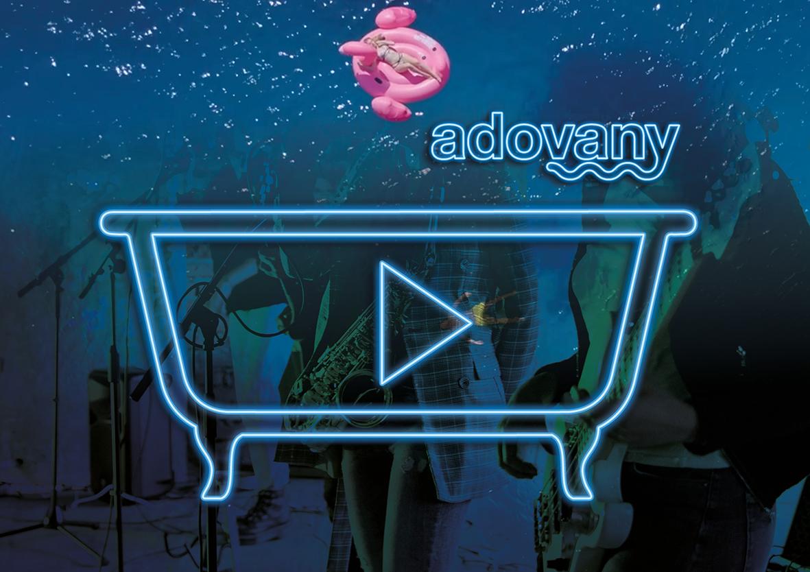 Logo Adovany spojuje moře možností. Vana, voda, hudba, zábava.