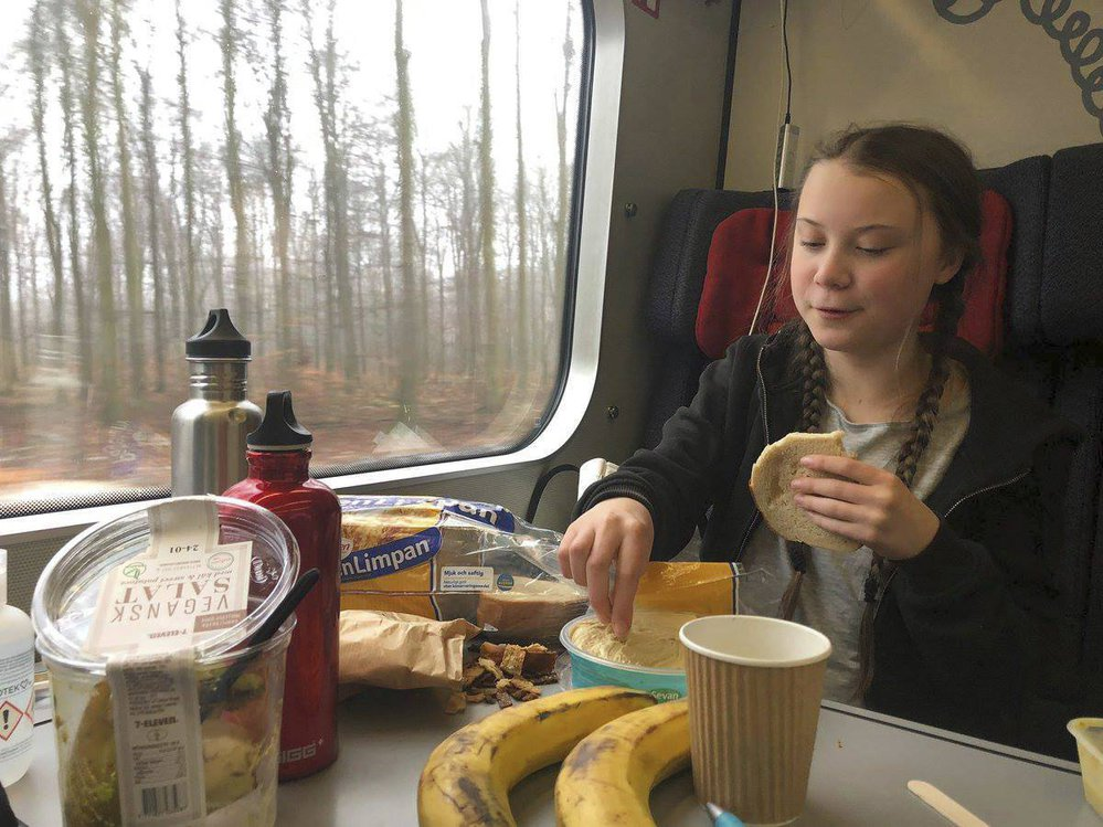 Greta na cestě do Davosu