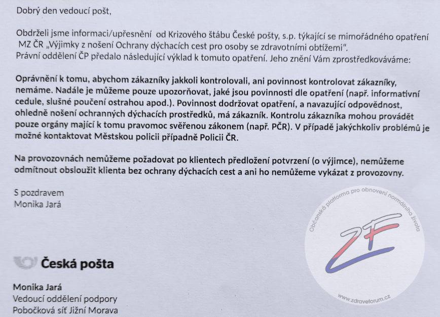 Česká pošta - interní nařízení