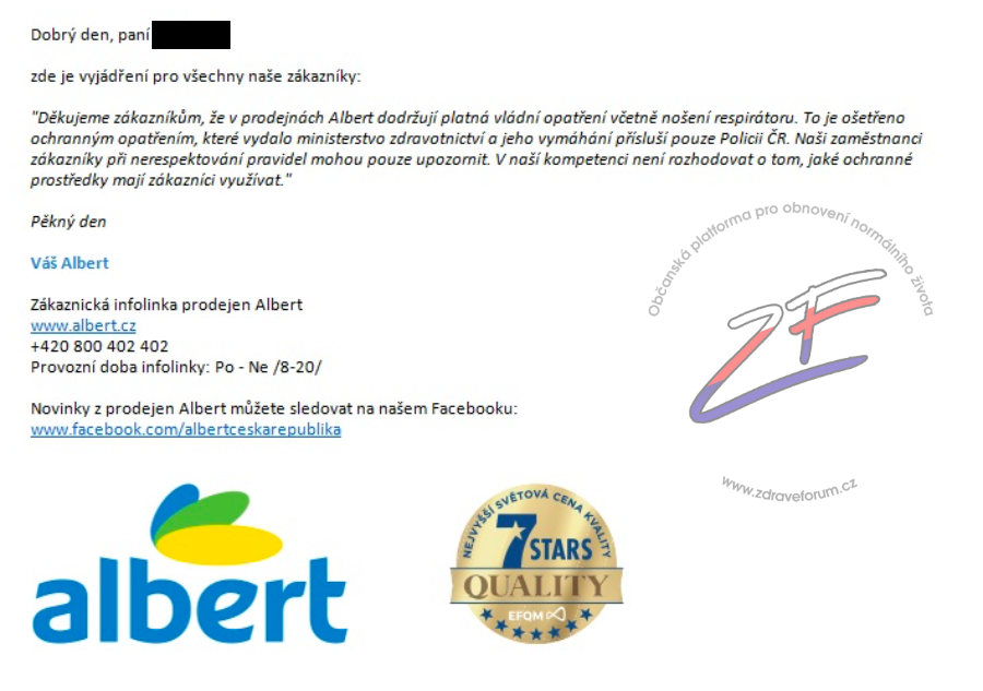 Albert - odpověď na stížnost