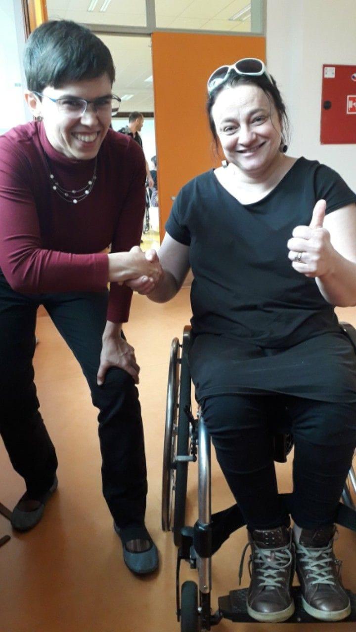 Poprvé jsme se pořádně viděly se zástupkyní České asociace paraplegiků osobně.