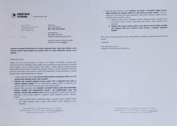 Plné znění interpelace panu ministrovi na téma testování protilátek