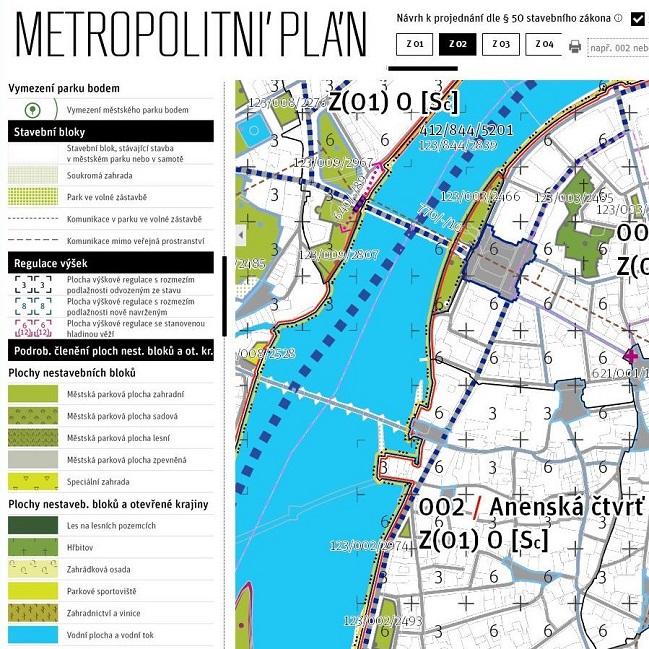 Park u Novotného lávky v návrhu Metropolitního plánu