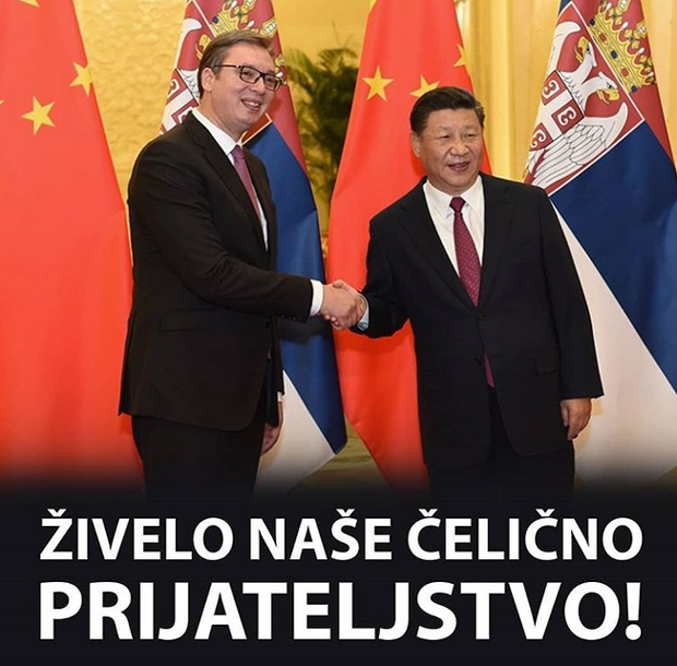 Srbský prezident Vučić s generálním tajemníkem ČLR Si Ťin-pchingem