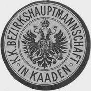 Razítko okresního hejtmanství v Kadani v době mocnářství - zdroj: Wikipedie